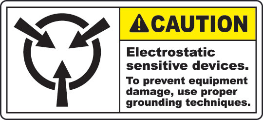 Electrostatic Sign Warning Labels