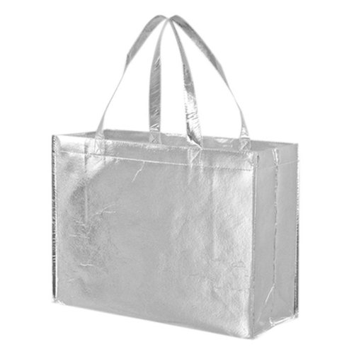 Metallic Laminated Silver Color Non Woven Loop Handle Bag